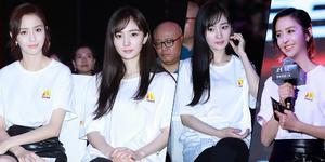 杨幂佟丽娅穿白T合体现身 谁更女神?