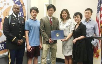 美国5位华裔学生被军校录取 国会议员举办表彰会