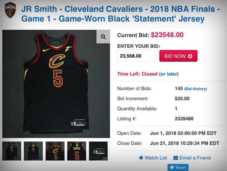 JR总决赛G1球衣拍出天价 这是勇士球迷买下的吧?