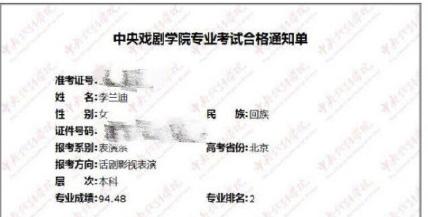 李兰迪高考总分466艺考中戏表演系专业排名第2