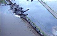 美国油罐列车脱轨散落河中