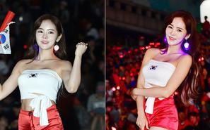韩国美女添彩韩墨战 把国旗绣胸前