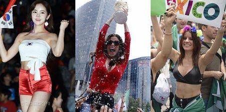 斗艳!韩国美女别致助威 墨西哥球迷狂欢庆祝