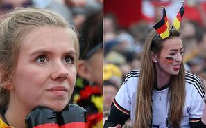 德国美女球迷眉头紧蹙 目睹破门后疯了