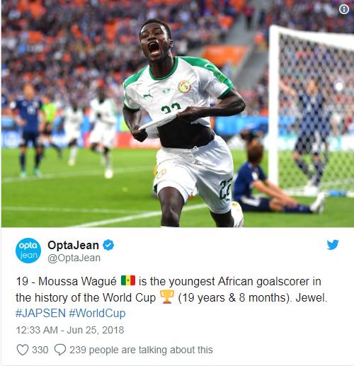 塞内加尔右后卫进球破纪录:世界杯上非洲最小进球球员