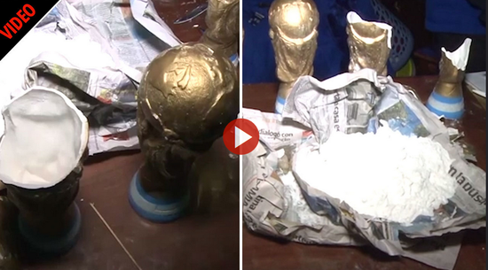 阿根廷警方查获新型毒贩:他们用大力神杯模型藏毒
