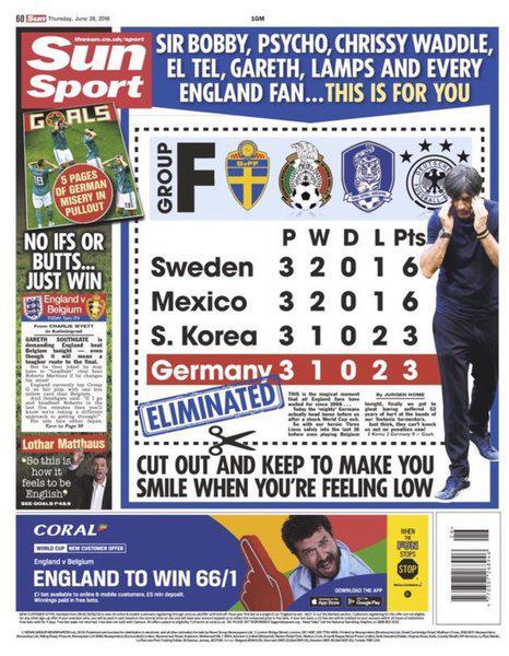 英媒:把德国输球新闻剪下来 不开心拿出来使劲笑!