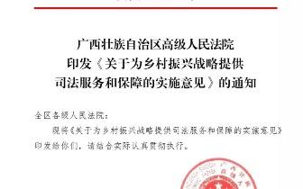 广西高院出台意见服务和保障乡村振兴战略