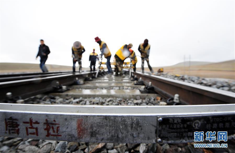 6月30日,在青藏铁路唐古拉站附近,养路工人冒雨对路轨进行捣固作业。新华社记者侯德强摄