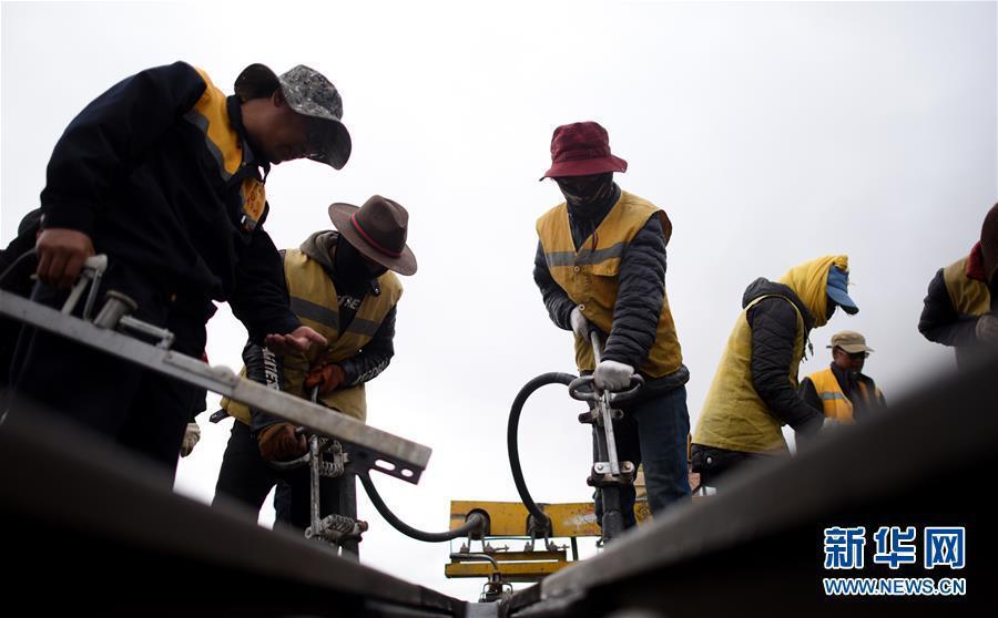 6月30日,青藏铁路唐古拉站附近,青藏集团公司格尔木工务段唐古拉线路车间养路工人在大雨来临前抓紧对路轨进行捣固作业。