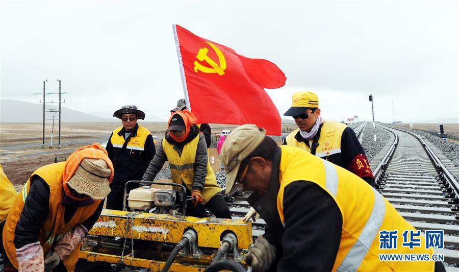 6月30日,青藏集团公司格尔木工务段唐古拉线路车间支部党员李彪林(后排左一)和严发业(后排右一)在青藏铁路唐古拉站附近进行养护作业。新华社记者侯德强摄
