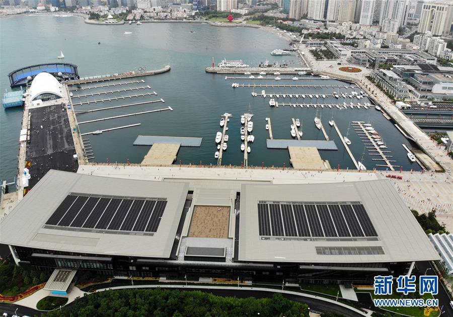 这是7月1日无人机拍摄的开放后的青岛奥帆中心。