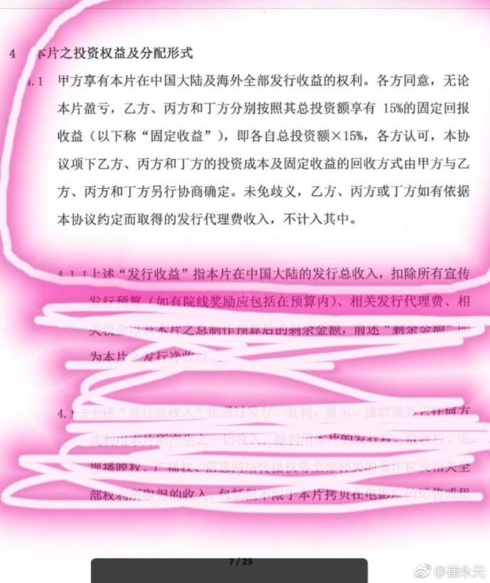 崔永元曬《大轟炸》合同︰拿老百姓的錢承擔風險
