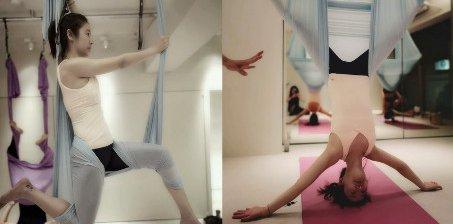 林心如练空中瑜伽 姿势超难