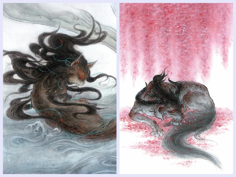 左图杉泽所绘类,右图为杉泽所绘狡,图片均源自《观山海》