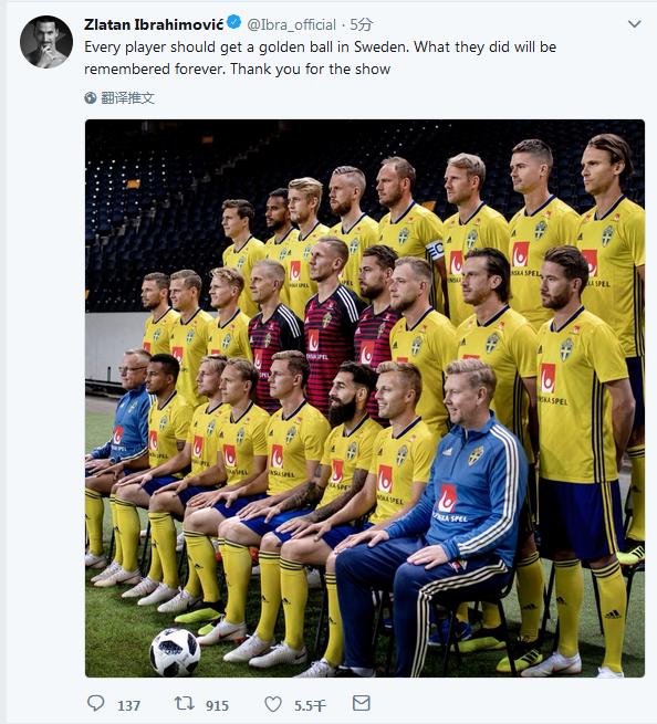 虽败犹荣!伊布发声大赞瑞典:给每人一座金球奖!