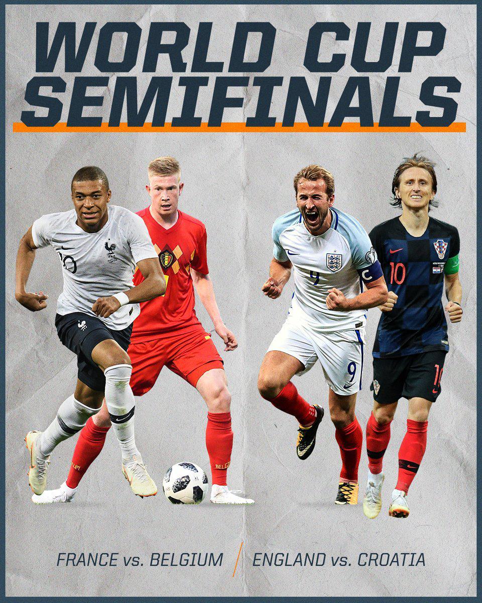 四强对阵:法国比利时18亿欧对决 英格兰PK克罗地亚