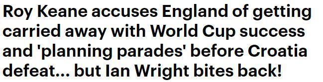 基恩舌战赖特,指责英格兰已在计划夺冠游行