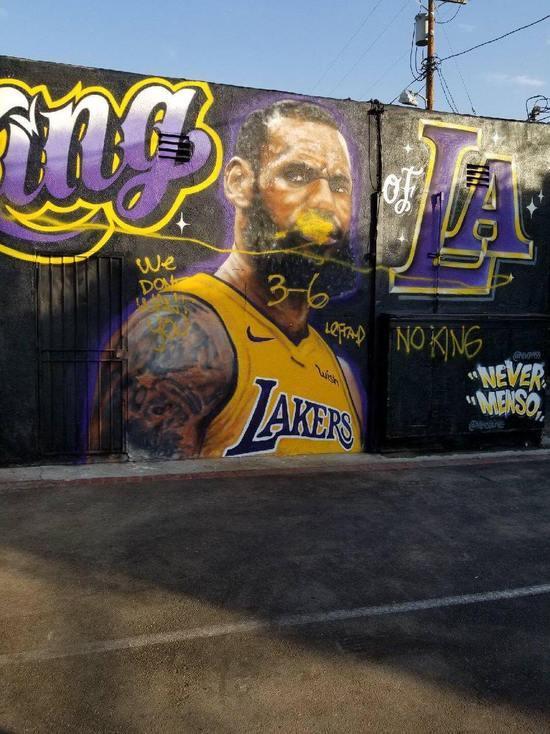 黑粉多!LA之王壁画被毁 詹皇征服湖人球迷太不易