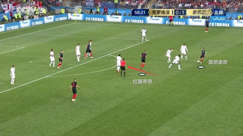 图9:莫德里奇拿球后,拉基蒂奇立刻前插等球,活动范围非常大。