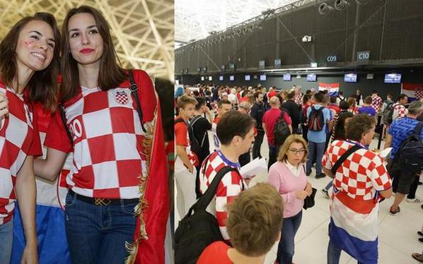 克罗地亚球迷齐聚机场 启程赴俄