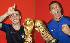 法国队夺冠写真:格里兹曼秀招牌动作