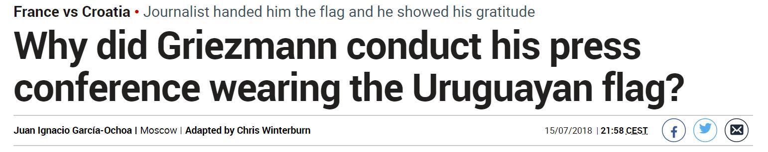 爱得深沉,格里兹曼赛后发布会披上乌拉圭国旗