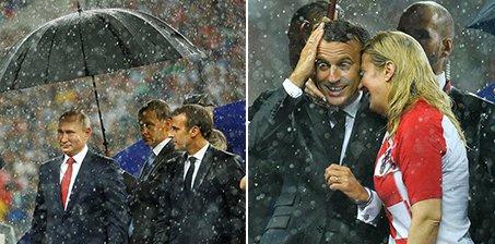争议!普京有人帮打伞 却让克罗地亚女总统淋雨