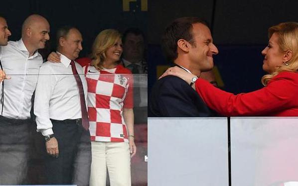 法克两国总统拥抱致意 普京现身看台
