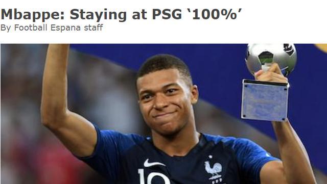 姆巴佩:夺世界杯的感觉太棒了,我绝对会留在巴黎