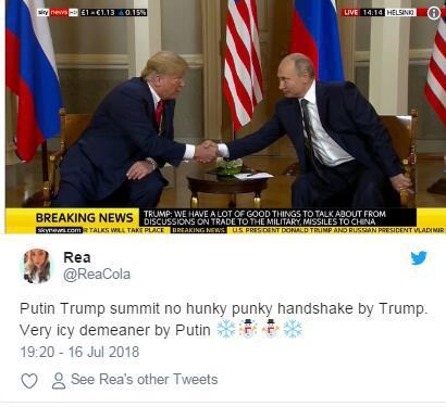 握手杀?没有!普京特朗普握手不像以往那么激烈