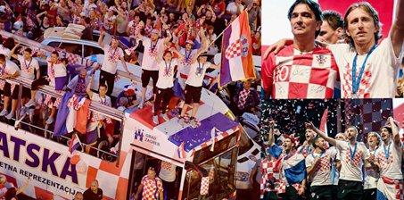 克罗地亚游行疯狂庆祝 魔笛召唤红色海洋