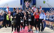 克罗地亚队回国受欢迎
