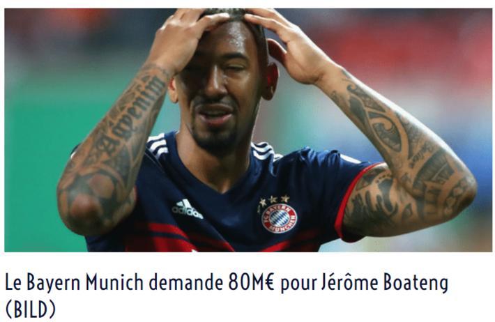 德媒:拜仁愿放博阿滕离开俱乐部 标价8000万欧