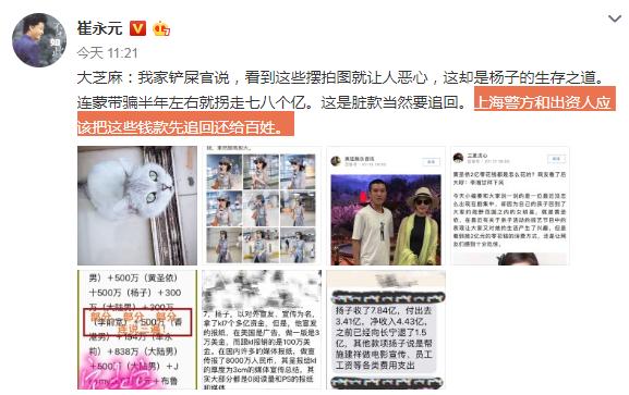 崔永元炮轰杨子:连蒙带骗拐走百姓七八个亿