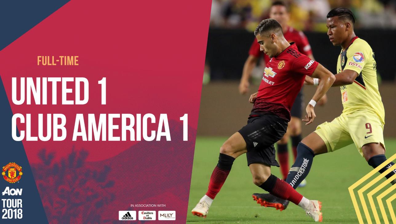热身-马塔破门 无世界杯球员版曼联1-1墨西哥美洲