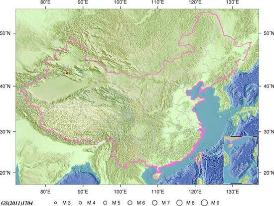 新疆和静县发生3.0级地震 震源深度13千米