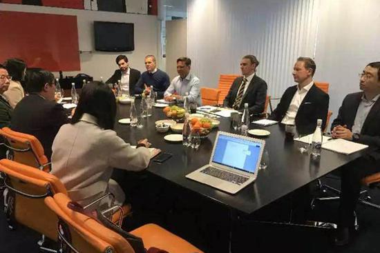 三亚学院代表、吉利集团代表、盛宝银行代表于盛宝银行哥本哈根总部会谈学院发展大事