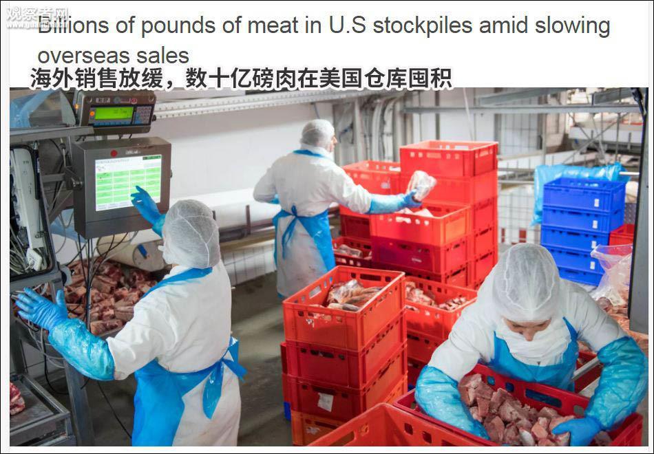 受关税影响出口受挫 20亿斤肉在美国仓库堆积如山