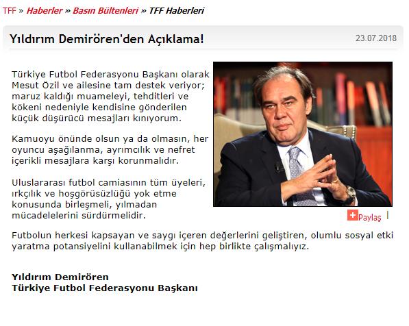 土耳其足协发表声明:谴责外界对厄齐尔的种族歧视
