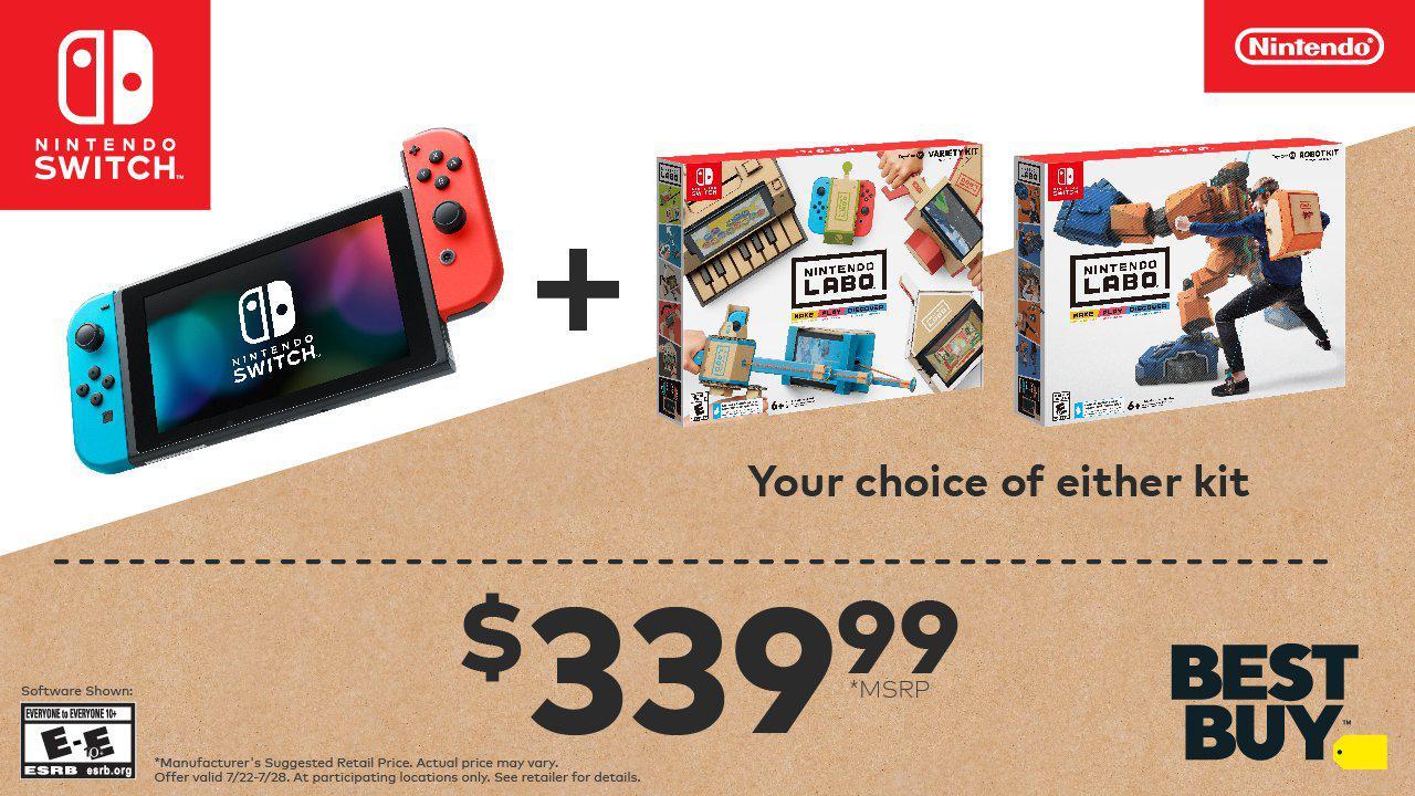 任天堂Switch开启优惠特卖 主机+LABO套装仅售339美元