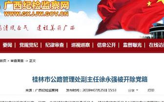 桂林市公路管理处副主任徐永强被开除党籍