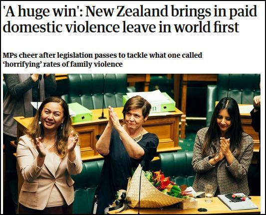 世界首例!新西兰颁布法案:遭遇家暴可带薪休假10天