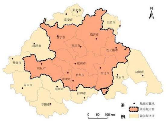 豫鲁苏皖四省交界处淮海经济区地图/google