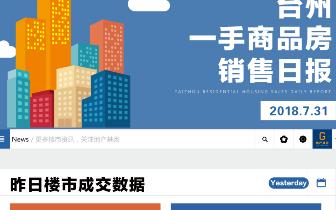 2018年7月31日台州市一手商品房成交291套
