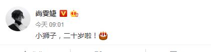 尚雯婕发文为蔡徐坤庆生:小狮子 二十岁啦