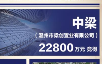 中梁以22800万元底价拿下温岭市原东湖C地块!