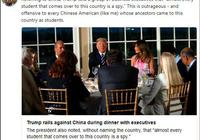 美媒称特朗普暗指中国留学生全是间谍 舆论哗然