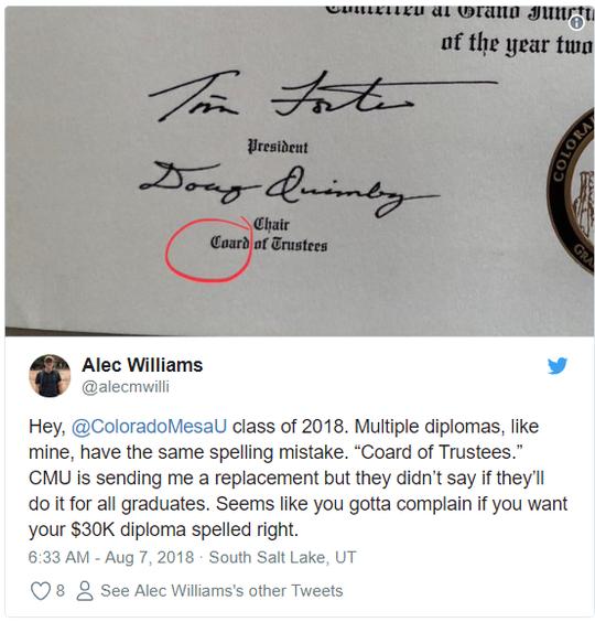美大学毕业证印错字母7年没人发现 要花30万重印