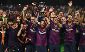 巴萨新赛季首冠!这次是梅队长捧杯